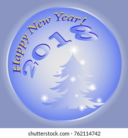 Happy new year with a fir tree on a blue background