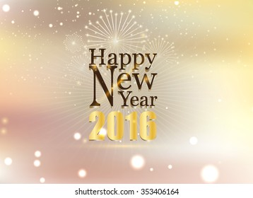 Happy new year and fire work soft gold background