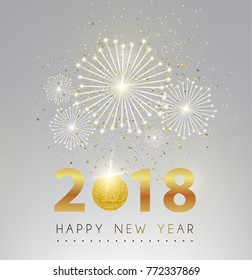 Happy new year and fire work silver background