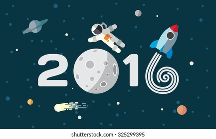 Happy New Year. Flat space theme illustration for calendar. The astronaut and rocket on the moon background.
