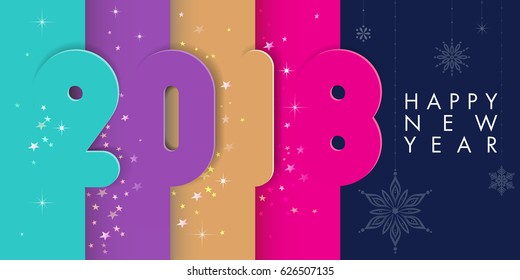 Happy New year. Four colorful 2018 bars with stars, sparkles and snowflakes. Shadows create 3-D effect. Holidays concept. Illustration.