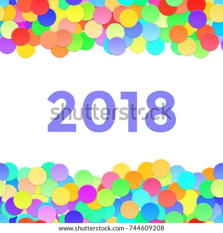 happy new year frame with 2018 and confetti vector illustration