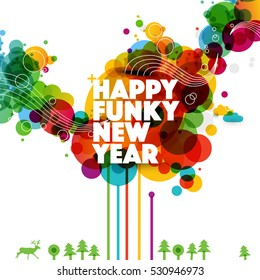 Happy New Year funky abstract illustration.
