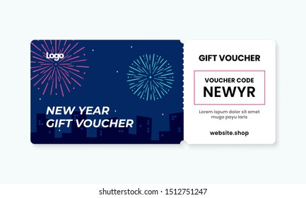 happy new year gift voucher card template design. city night sky with fire work artwork background coupon code promotion vector illustration