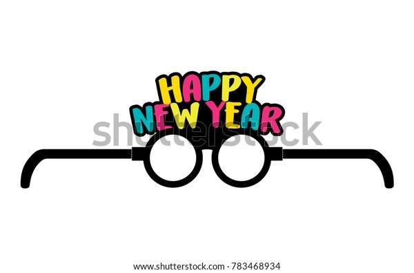 Happy New Year Glasses Vector Template Illustration