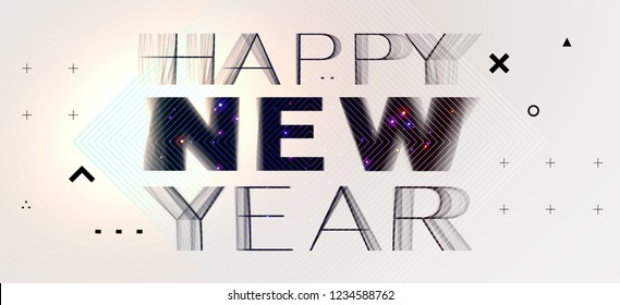 Happy New Year glitch art style design for modern covers, greeting cards, brochures, posters and placards. Eps10 vector illustration
