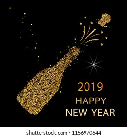 Happy new year. Gold glitter 2019. Champagne icon. Silhouette of a champagne bottle. Vector illustration.