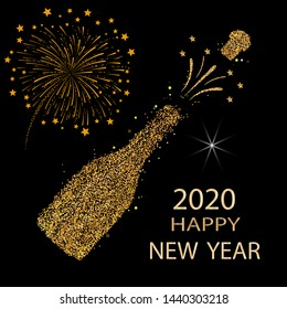 Happy new year. Gold glitter 2020. Champagne icon. Silhouette of a champagne bottle. Vector
