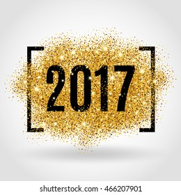 Happy new year. Gold glitter New Year. Golden background for flyer, poster. Sign symbol. Banner, web, header. Abstract golden backdrop for text. Type quote. Gold blur background.