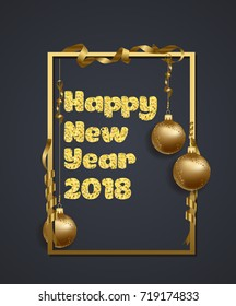 Happy new year. Gold glitter 2018. Golden text  isolated on black background