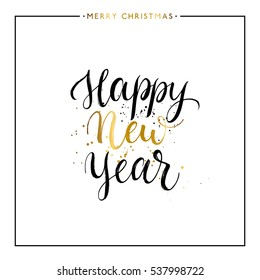 Happy New Year gold text isolated on white background, hand painted letter, golden vector new year lettering for holiday card, poster, banner, print, invitation, handwritten calligraphy