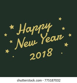 happy new year greating text vector illustration with star line