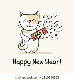 Happy New Year greeting card with cute cat that holds the slapstick in his hands. Funny flat vector animal illustration poster