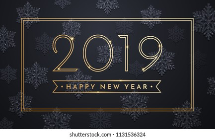 Happy New Year greeting card of sparkling snowflakes and gold glitter frame for Christmas holiday celebration on vector black premium background