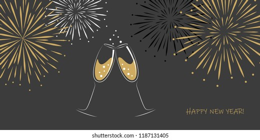 happy new year greeting card two champagne glasses and fireworks on a grey background vector illustration EPS10