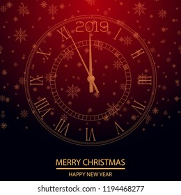 Happy New Year greeting card with gold clock. Vector.