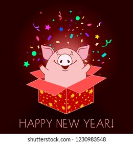 Happy New year greeting card. Piggy jumping out of the gift box and throwing confetti on a red background. Vector