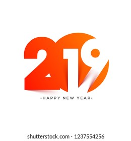 Happy New Year greeting card design, 2019 text in paper cut style on white background.