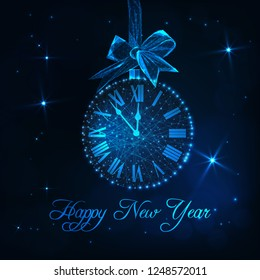 Happy New Year greeting card template with roman numeral clock as a christmas ball with hanging ribbon bow and text. Countdown time to New Year. Futuristic low polygonal design vector illustration.