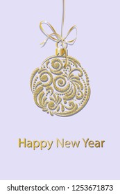 Happy New Year greeting card design. A golden christmas ball is suspended on a ribbon. Great for New year posters, banner, postcards, headers. Vector illustration.