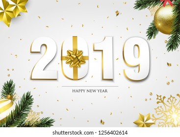Happy New Year greeting card, 3d 2019 number sign with gold gift box ribbon. Confetti, bauble ornaments and pine tree leaf on white background.