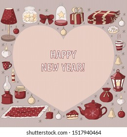 Happy New Year greeting card with knitted heart, festive interior design elements (lanterns, tableware, candles) and deserts (cake, donut, tea). Сosiness concept for coffee house, cafe or restaurant.