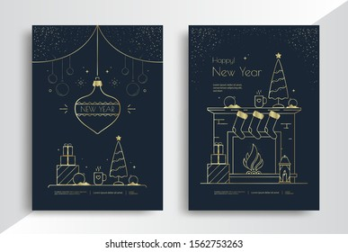 Happy New Year greeting card design with stylized gold toys, xmas tree and decoration on dark background. Merry Christmas interior with fireplace and socks. Golden line illustration
