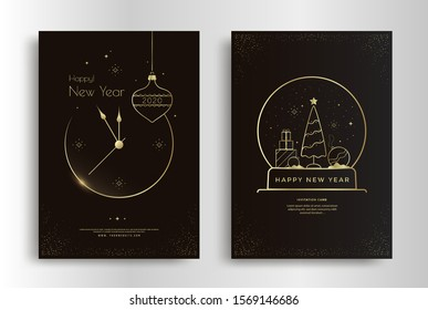 Happy New Year greeting card design with stylized gold clock, xmas tree and decoration. Merry Christmas poster layout with snowglobe. Golden line Holidays illustration on dark background.