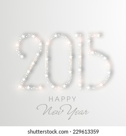 Happy New Year greeting card decorated with shiny text 2015 on grey background.