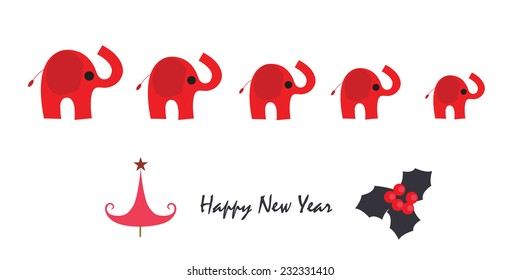Happy new year greeting card with elephant and tree