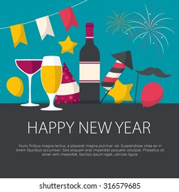 Happy New Year greeting card flat design. Vector illustration.