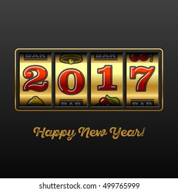 Happy New Year greeting card with slot machine and lucky 2017 figures, casino theme. Vector illustration.