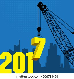 Happy New Year greeting card - crane at work, vector illustration