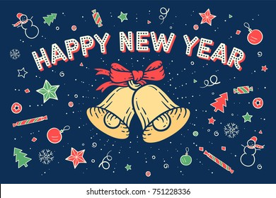 Happy new year. Greeting card with bell and text Happy New Year with starburst on happy pattern, background. Christmas theme for banner, poster, post card, web and graphic design. Vector Illustration