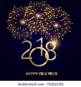 Happy New Year greeting card with shining gold text and fireworks on black background. 2018 Vector.