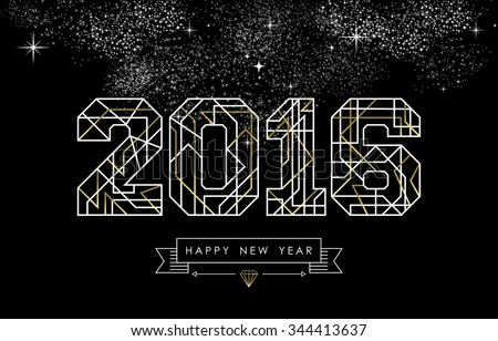 Happy new year greeting card design stock vector royalty free happy new year greeting card design in art deco outline style gold and white 2016 m4hsunfo
