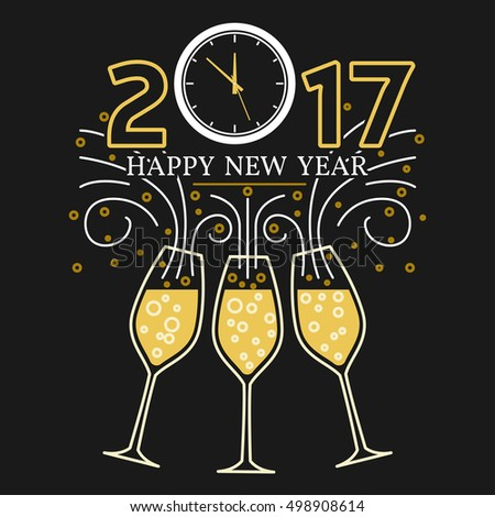 happy new year greeting card eps10 vector champagne glasses and clock thin line