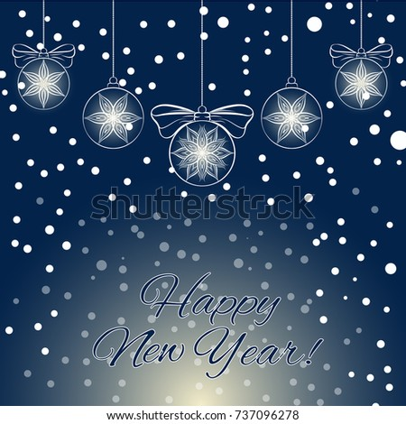 happy new year greeting card template with christmas balls abstract illustration eps10 format