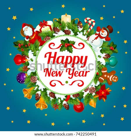 Happy new year greeting card design stock vector royalty free happy new year greeting card design of christmas tree decoration wreath vector santa gifts m4hsunfo