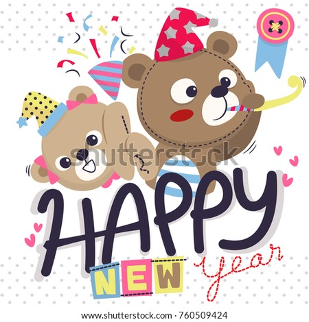 happy new year greeting card with cute teddy bear boy and girl on polka dot background