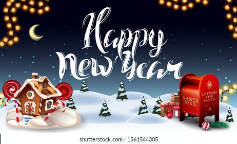 Happy New Year, greeting postcard with cartoon winter forest, starry sky, garland, beautiful lettering, Santa letterbox with presents and Christmas gingerbread house