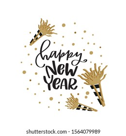 Happy New Year greeting text lettering with party horn clipart and confetti spots. Black and gold winter holiday vector design to make gift tags, cards, wall art, party decoration.