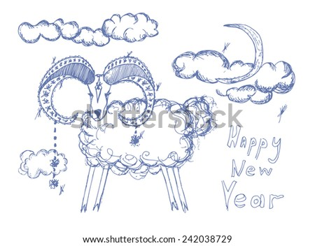 Happy New Year Greetings Card Sketch Stock Vector (Royalty Free ...