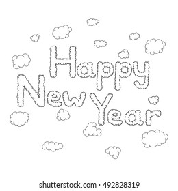 Happy new year hand drawn doodle clouds