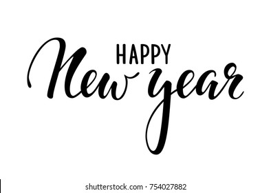 Happy New Year. Hand drawn creative calligraphy, brush pen lettering. design holiday greeting cards and invitations of Merry Christmas and Happy New Year, banner, poster, logo, seasonal holiday.