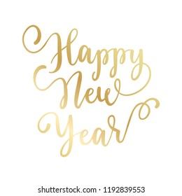 happy new year hand lettering calligraphy isolated on white background vector holiday illustration element