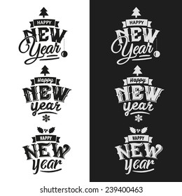 Happy New Year hand lettering Set Of Typographic Design