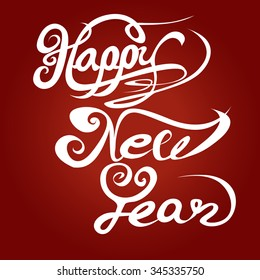 Happy new year hand lettering, vector