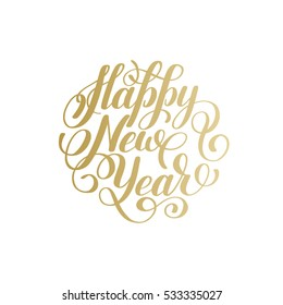 Happy New Year hand lettering congratulate gold inscription logo design, Christmas greeting card, calligraphy vector illustration