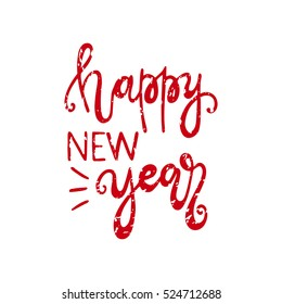 Happy new year handdrawn christmas lettering. Xmas typography poster, lettering. Calligraphy phrase perfect for gift cards, flyers, banners